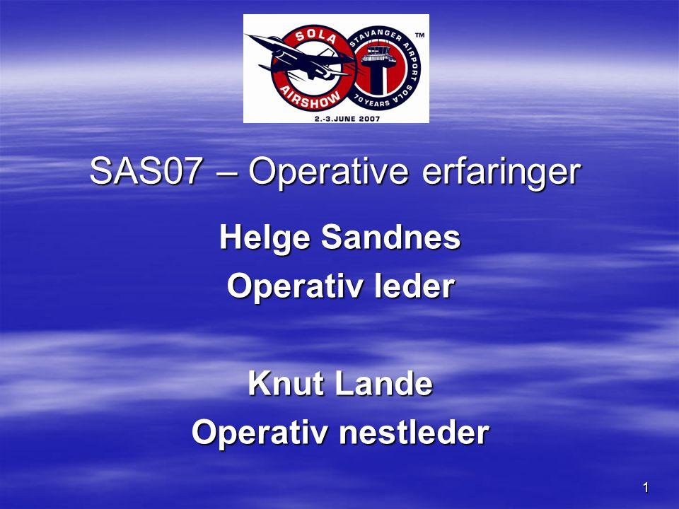 1 SAS07 – Operative erfaringer Helge Sandnes Operativ leder Knut Lande Operativ nestleder