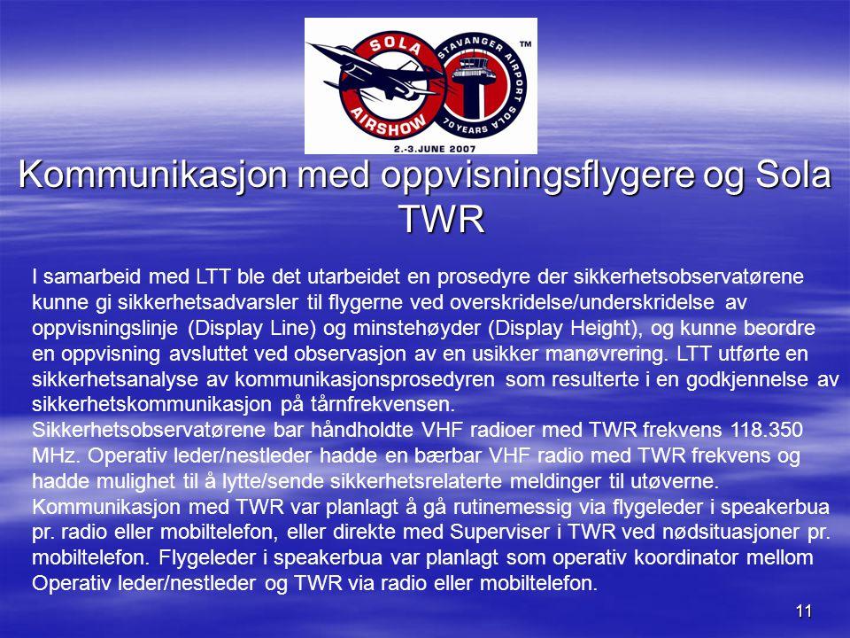 11 Kommunikasjon med oppvisningsflygere og Sola TWR I samarbeid med LTT ble det utarbeidet en prosedyre der sikkerhetsobservatørene kunne gi sikkerhetsadvarsler til flygerne ved overskridelse/underskridelse av oppvisningslinje (Display Line) og minstehøyder (Display Height), og kunne beordre en oppvisning avsluttet ved observasjon av en usikker manøvrering.