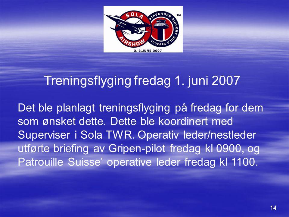 14 Treningsflyging fredag 1.