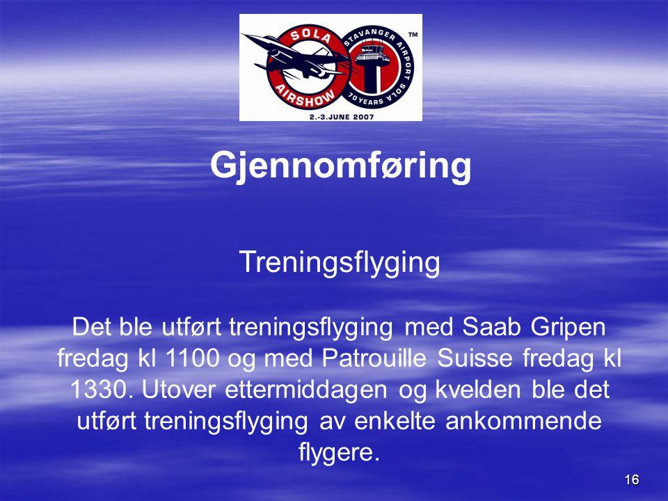 16 Gjennomføring Treningsflyging Det ble utført treningsflyging med Saab Gripen fredag kl 1100 og med Patrouille Suisse fredag kl 1330.