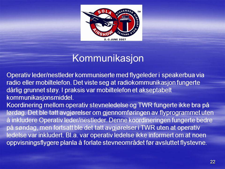 22 Kommunikasjon Operativ leder/nestleder kommuniserte med flygeleder i speakerbua via radio eller mobiltelefon.