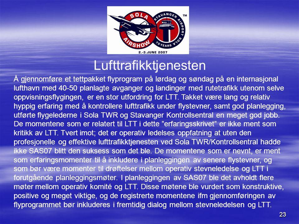 23 Lufttrafikktjenesten Å gjennomføre et tettpakket flyprogram på lørdag og søndag på en internasjonal lufthavn med 40-50 planlagte avganger og landinger med rutetrafikk utenom selve oppvisningsflygingen, er en stor utfordring for LTT.