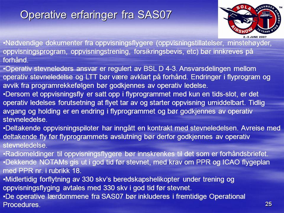 25 Operative erfaringer fra SAS07 Nødvendige dokumenter fra oppvisningsflygere (oppvisningstillatelser, minstehøyder, oppvisningsprogram, oppvisningstrening, forsikringsbevis, etc) bør innkreves på forhånd.
