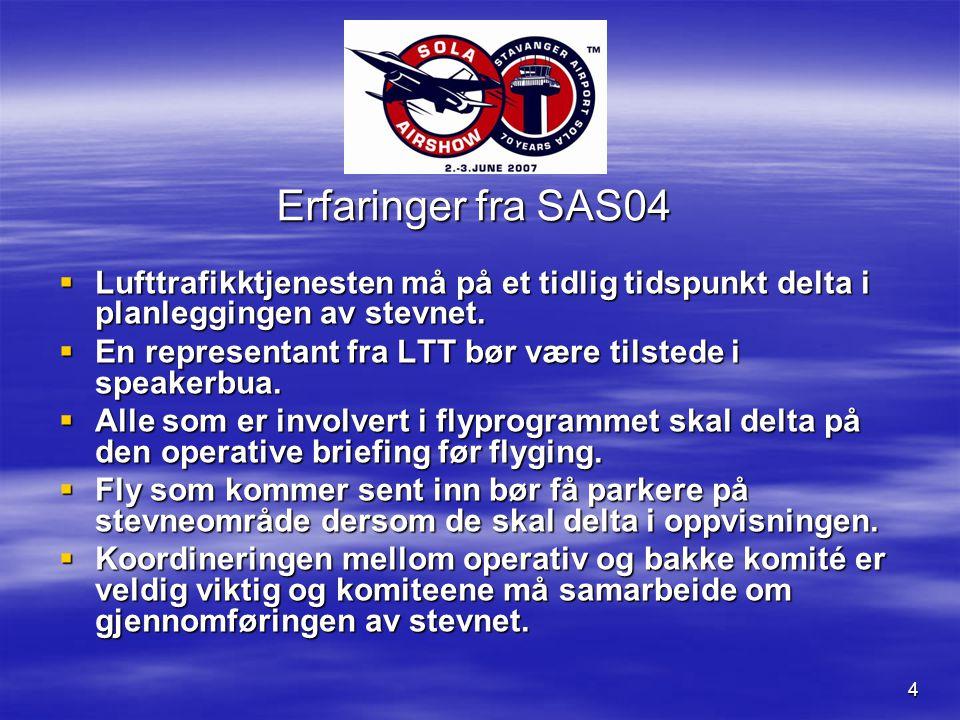 4 Erfaringer fra SAS04  Lufttrafikktjenesten må på et tidlig tidspunkt delta i planleggingen av stevnet.