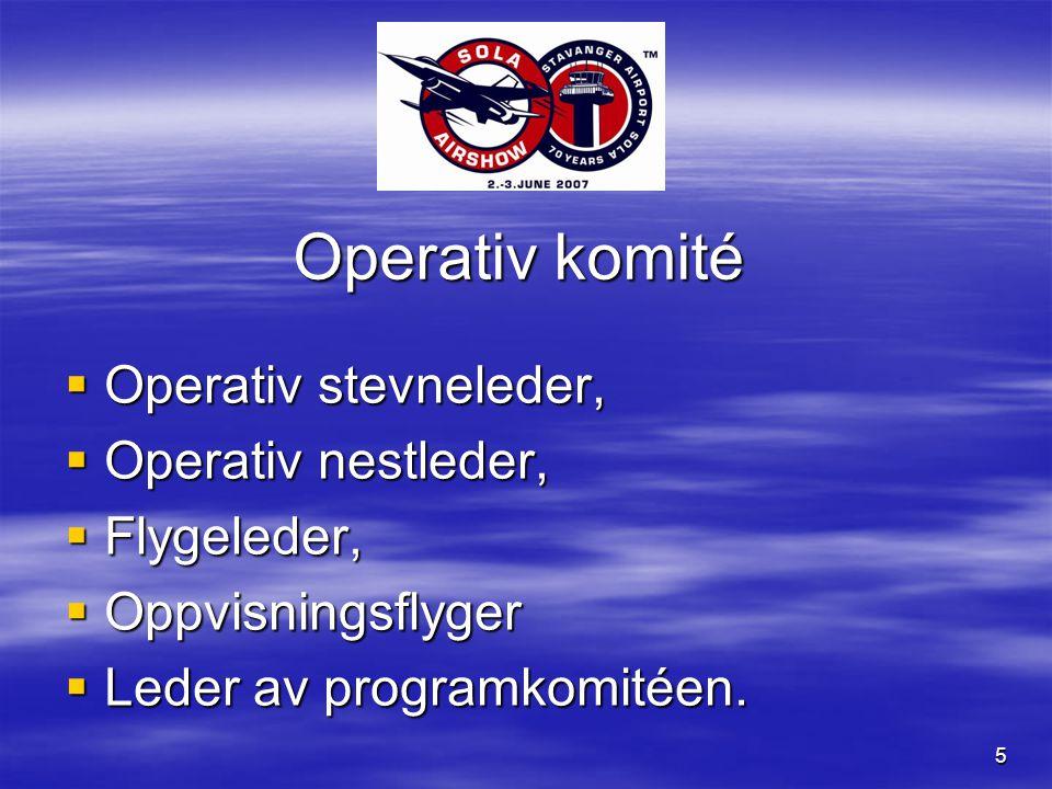 5 Operativ komité  Operativ stevneleder,  Operativ nestleder,  Flygeleder,  Oppvisningsflyger  Leder av programkomitéen.