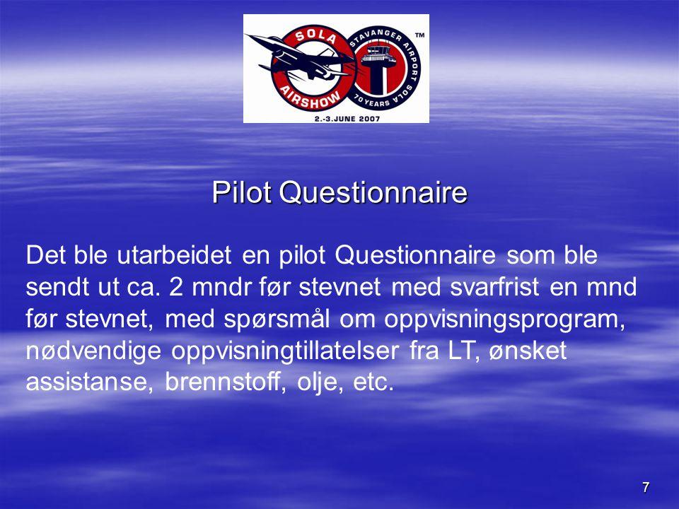 7 Pilot Questionnaire Det ble utarbeidet en pilot Questionnaire som ble sendt ut ca.