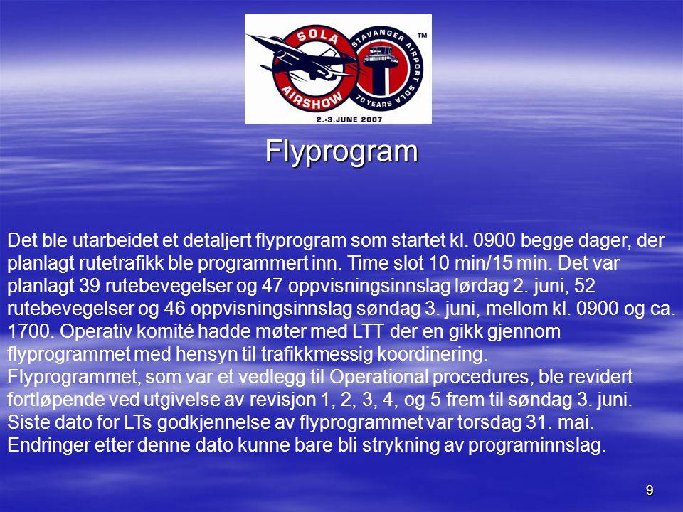 9 Flyprogram Det ble utarbeidet et detaljert flyprogram som startet kl.