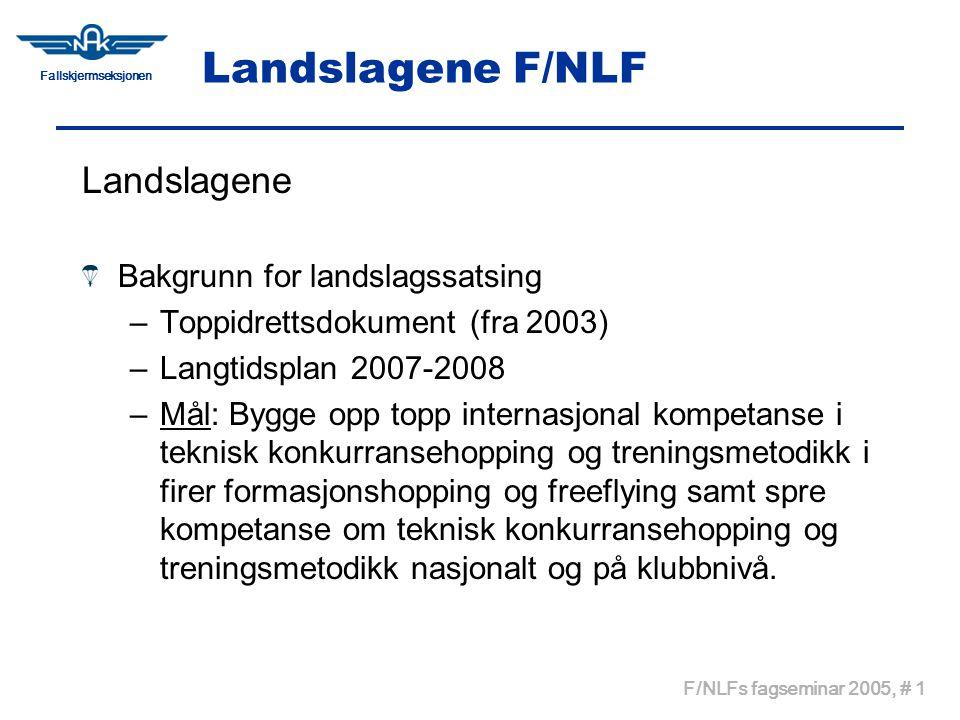Fallskjermseksjonen F/NLFs fagseminar 2005, # 1 Landslagene F/NLF Landslagene Bakgrunn for landslagssatsing –Toppidrettsdokument (fra 2003) –Langtidsp
