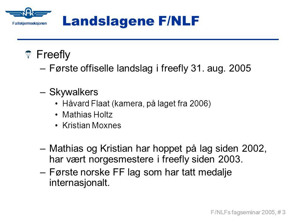 Fallskjermseksjonen F/NLFs fagseminar 2005, # 3 Landslagene F/NLF Freefly –Første offiselle landslag i freefly 31. aug. 2005 –Skywalkers Håvard Flaat