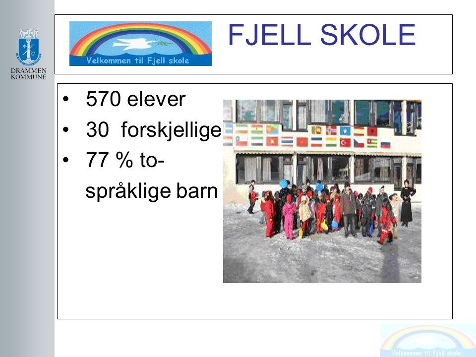 FJELL SKOLE 570 elever 30 forskjellige land 77 % to- språklige barn