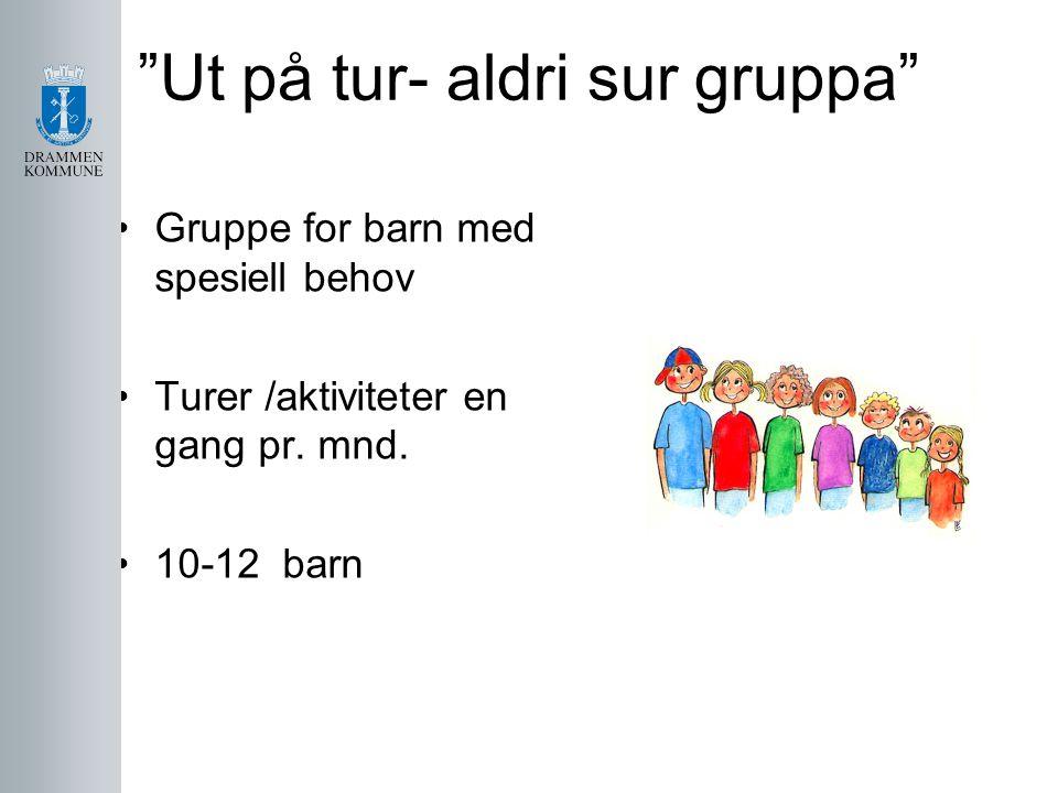 """""""Ut på tur- aldri sur gruppa"""" Gruppe for barn med spesiell behov Turer /aktiviteter en gang pr. mnd. 10-12 barn"""