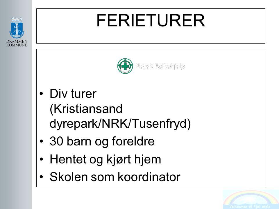 FERIETURER Div turer (Kristiansand dyrepark/NRK/Tusenfryd) 30 barn og foreldre Hentet og kjørt hjem Skolen som koordinator