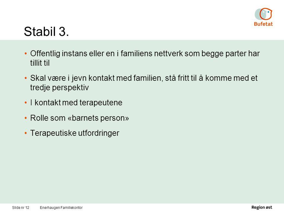 Slide nr 12Enerhaugen Familiekontor Stabil 3. Offentlig instans eller en i familiens nettverk som begge parter har tillit til Skal være i jevn kontakt