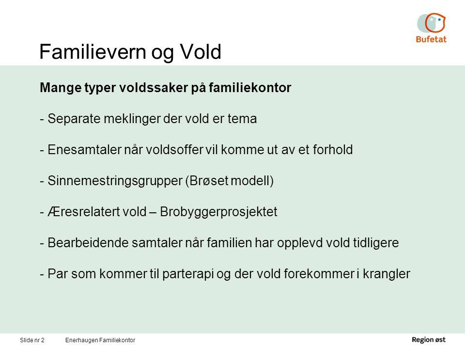Familievern og vold Litt uklar omfang Dahl og Guldbrandsen (1983) – vold i 9,4 % av sakene på Oslokontorene; Bø Vatnar (2000) – stort sprik (0,4 – 34%) Bufdir undersøkelse 2009 – ca 10 % av sakene Slide nr 3Enerhaugen Familiekontor