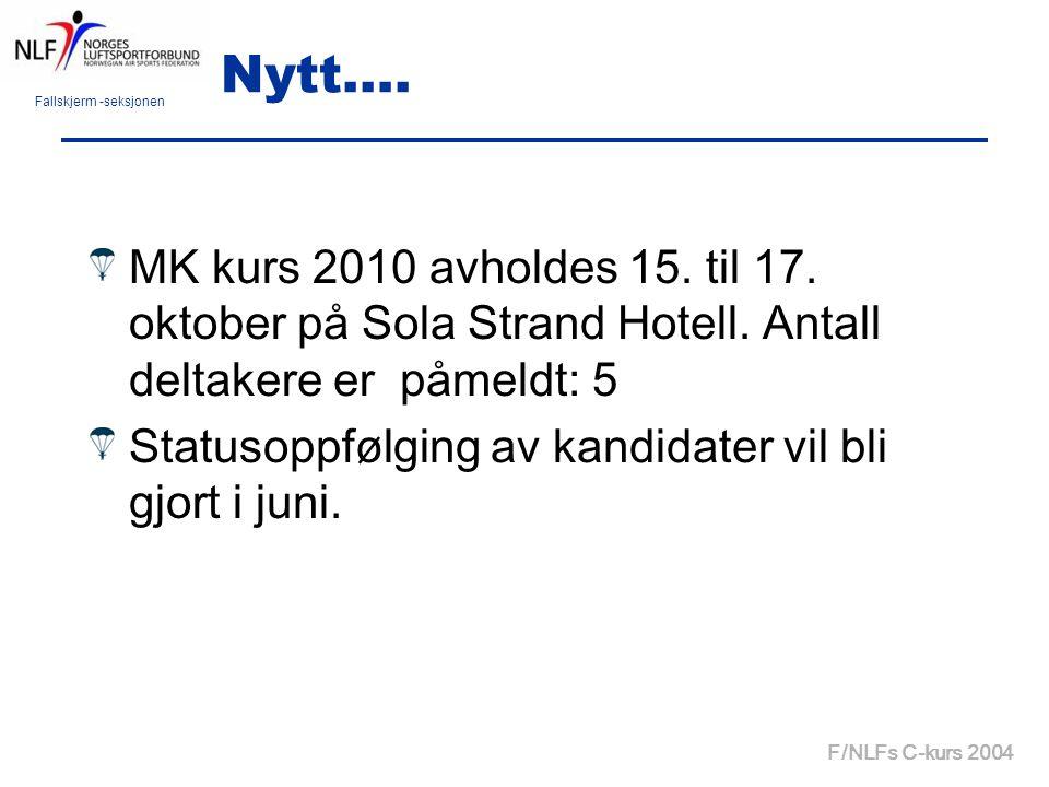 Fallskjerm -seksjonen F/NLFs C-kurs 2004 Nytt…. MK kurs 2010 avholdes 15. til 17. oktober på Sola Strand Hotell. Antall deltakere er påmeldt: 5 Status