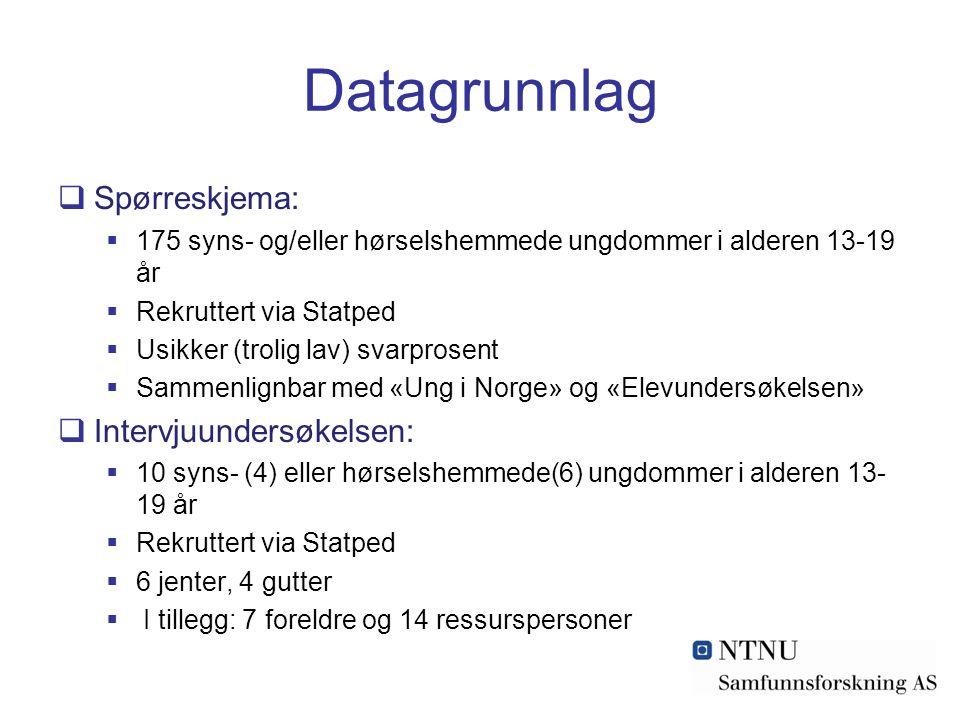 Datagrunnlag  Spørreskjema:  175 syns- og/eller hørselshemmede ungdommer i alderen 13-19 år  Rekruttert via Statped  Usikker (trolig lav) svarpros
