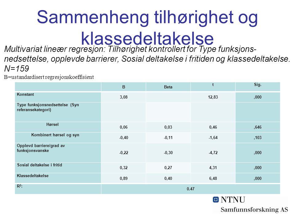 Sammenheng tilhørighet og klassedeltakelse BBeta tSig. Konstant 3,08 12,83,000 Type funksjonsnedsettelse (Syn referansekategori) Hørsel 0,060,030,46,6