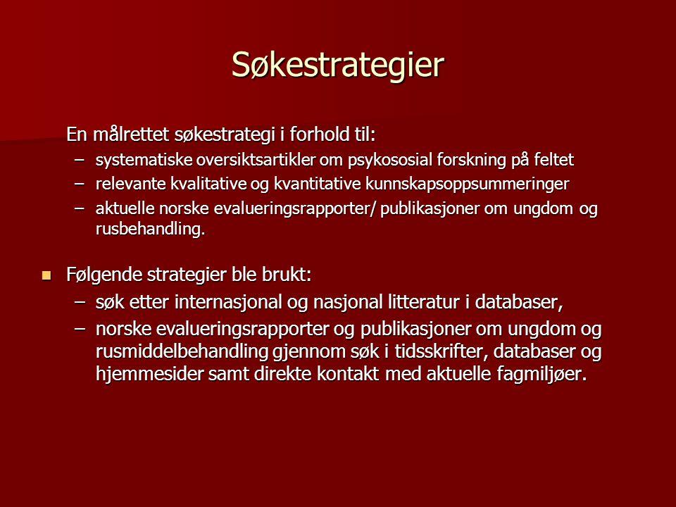 Søkestrategier En målrettet søkestrategi i forhold til: –systematiske oversiktsartikler om psykososial forskning på feltet –relevante kvalitative og k