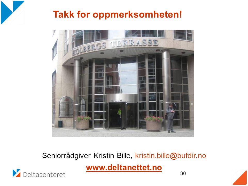 Seniorrådgiver Kristin Bille, kristin.bille@bufdir.no www.deltanettet.no K 30 Takk for oppmerksomheten!
