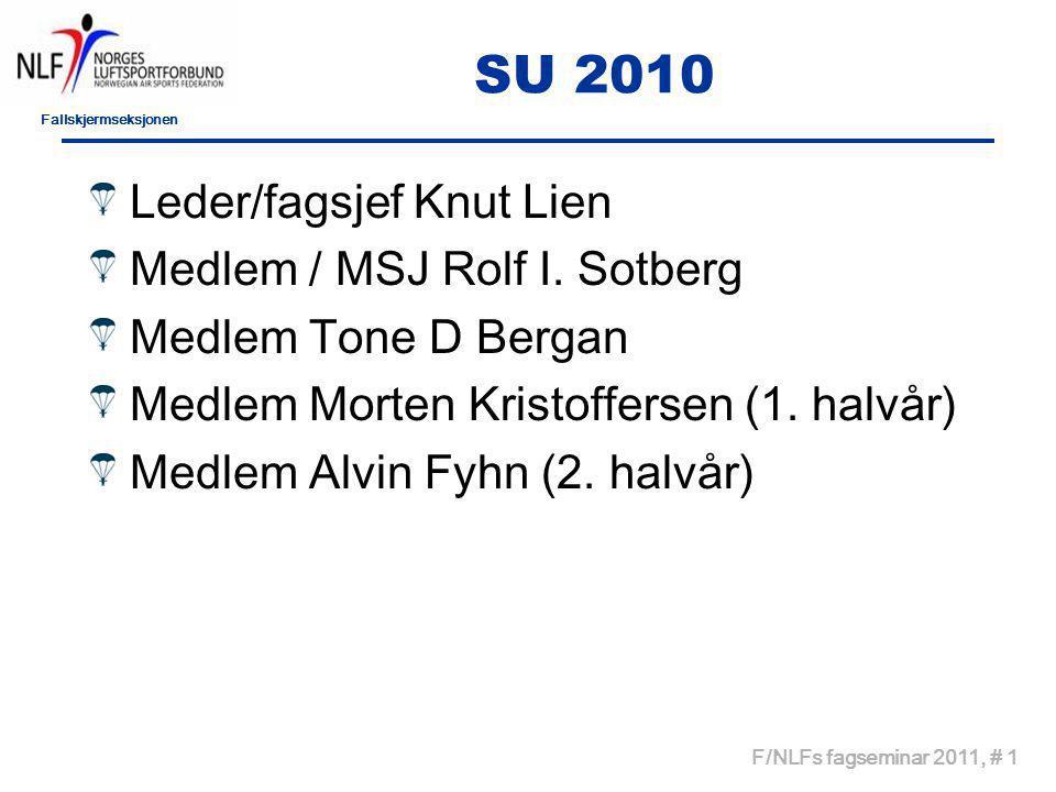 Fallskjermseksjonen F/NLFs fagseminar 2011, # 1 SU 2010 Leder/fagsjef Knut Lien Medlem / MSJ Rolf I.