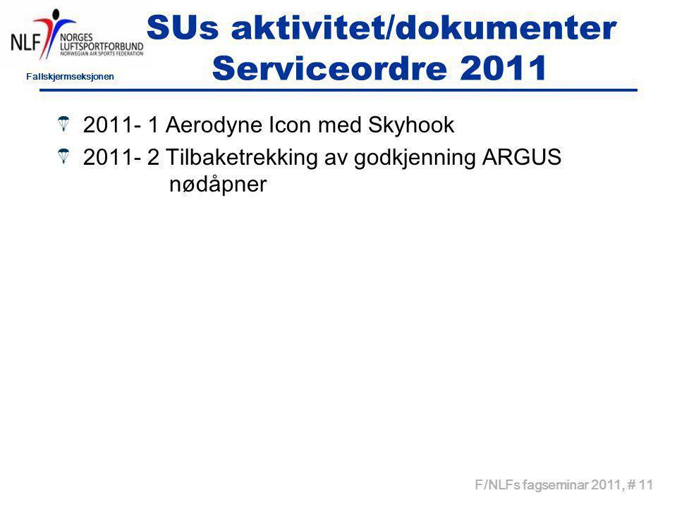 Fallskjermseksjonen F/NLFs fagseminar 2011, # 11 SUs aktivitet/dokumenter Serviceordre 2011 2011- 1 Aerodyne Icon med Skyhook 2011- 2 Tilbaketrekking av godkjenning ARGUS nødåpner
