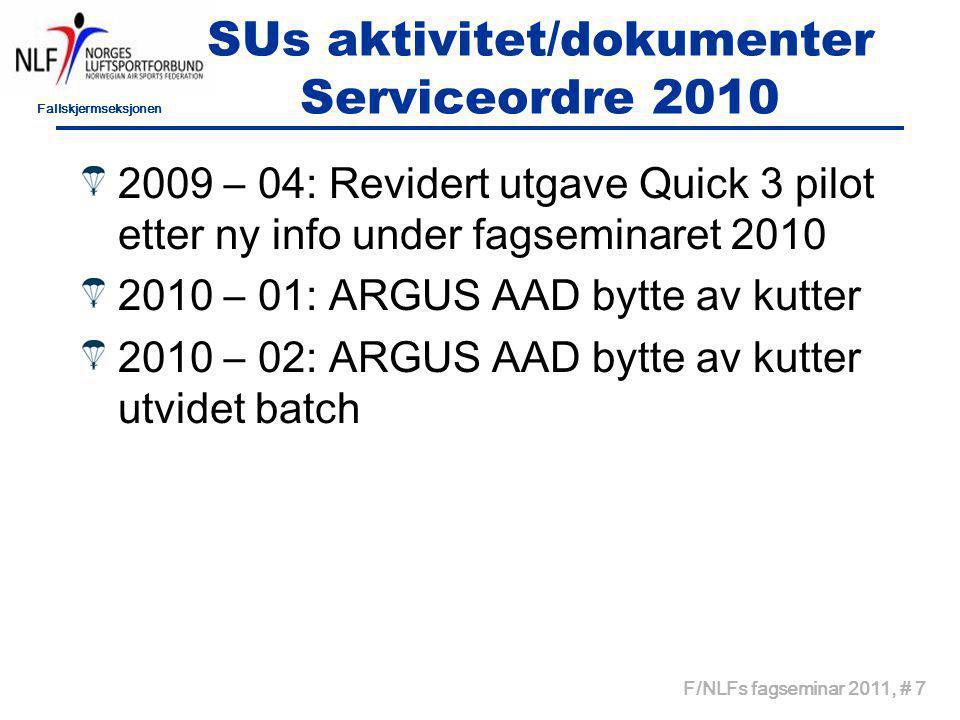 Fallskjermseksjonen F/NLFs fagseminar 2011, # 8 SUs aktivitet/dokumenter servicebulletiner 2010 2010 – 1: RDS innskjerpelser om bruk 2010 – 2: Midlertidig bruksforbruk Sensei 2010 – 3: Opphevelse av SB 2010 – 2