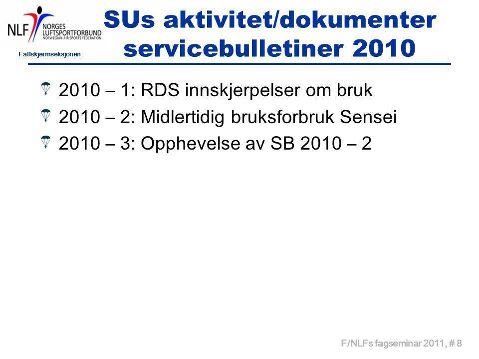 Fallskjermseksjonen F/NLFs fagseminar 2011, # 9 SUs aktivitet/dokumenter Granskningskommisjon 2010 – 1: Granskningskommisjon –Ulykke på Bømoen 01.07.10 kl 11:05 –02.07.10 Styret F/NLF beslutter å nedsette en granskningskommisjon.