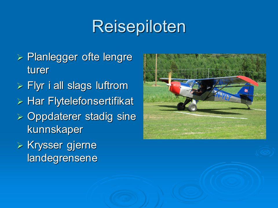 Reisepiloten  Planlegger ofte lengre turer  Flyr i all slags luftrom  Har Flytelefonsertifikat  Oppdaterer stadig sine kunnskaper  Krysser gjerne