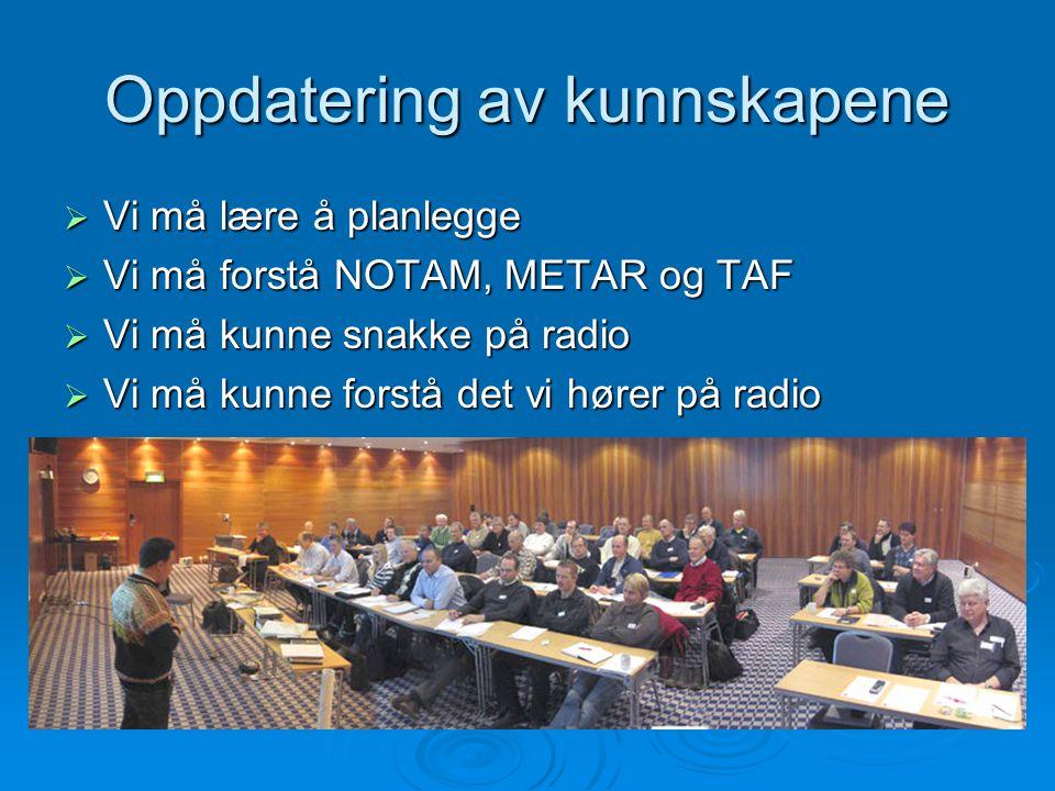 Oppdatering av kunnskapene  Vi må lære å planlegge  Vi må forstå NOTAM, METAR og TAF  Vi må kunne snakke på radio  Vi må kunne forstå det vi hører