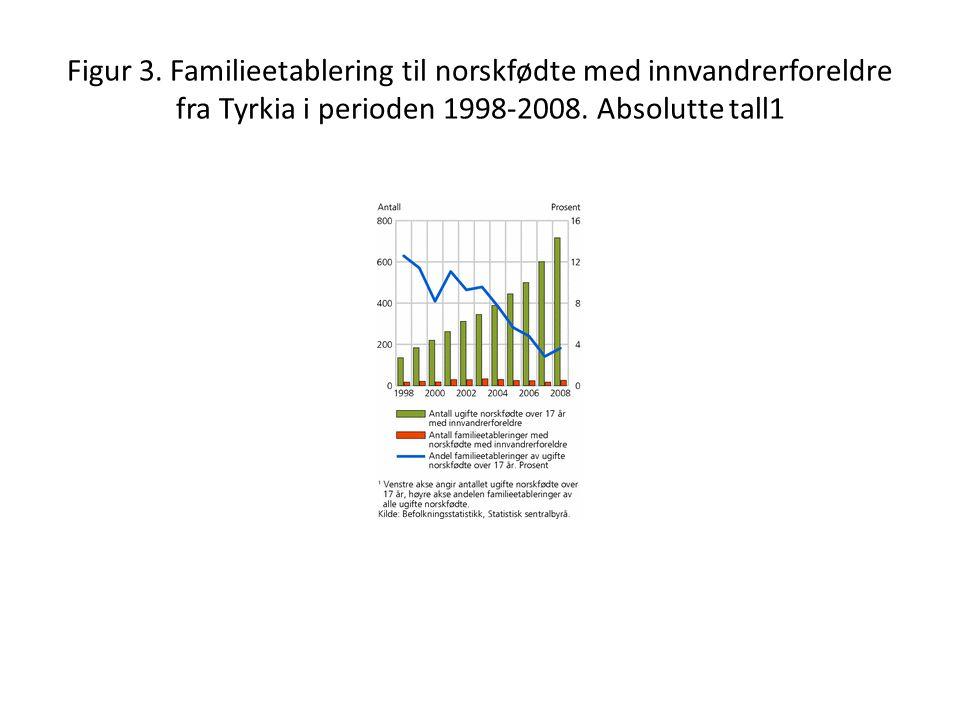 Figur 3. Familieetablering til norskfødte med innvandrerforeldre fra Tyrkia i perioden 1998-2008.