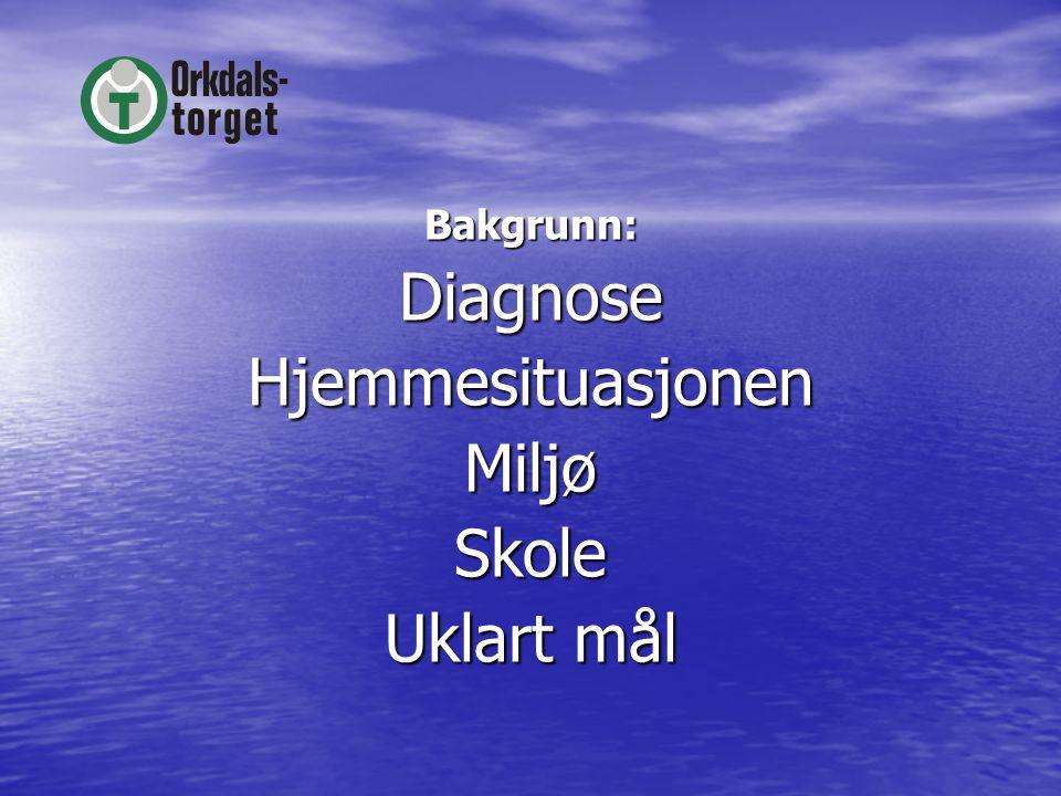 Bakgrunn:DiagnoseHjemmesituasjonenMiljøSkole Uklart mål