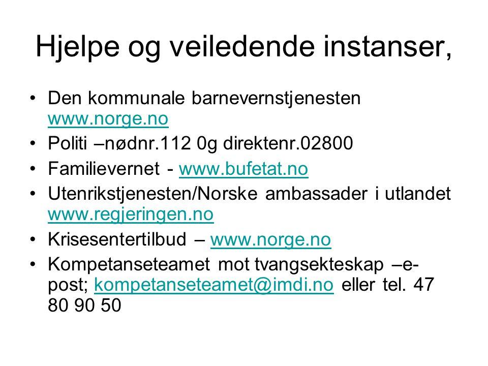 Hjelpe og veiledende instanser, Den kommunale barnevernstjenesten www.norge.no www.norge.no Politi –nødnr.112 0g direktenr.02800 Familievernet - www.b