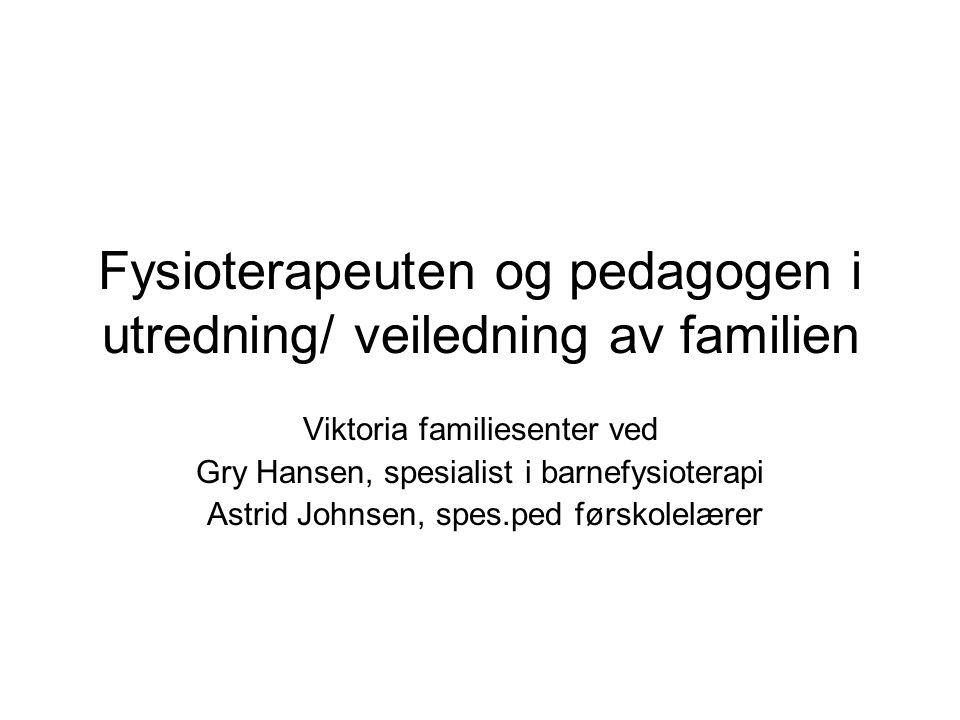 Fysioterapeuten og pedagogen i utredning/ veiledning av familien Viktoria familiesenter ved Gry Hansen, spesialist i barnefysioterapi Astrid Johnsen,