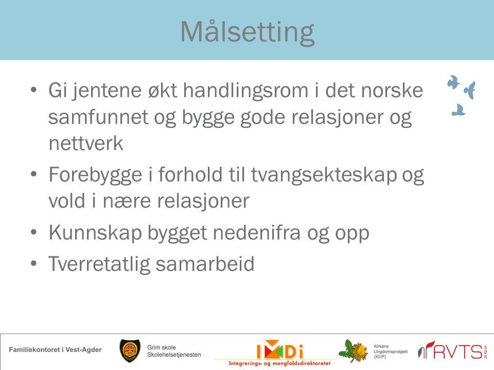 Målsetting Gi jentene økt handlingsrom i det norske samfunnet og bygge gode relasjoner og nettverk Forebygge i forhold til tvangsekteskap og vold i næ