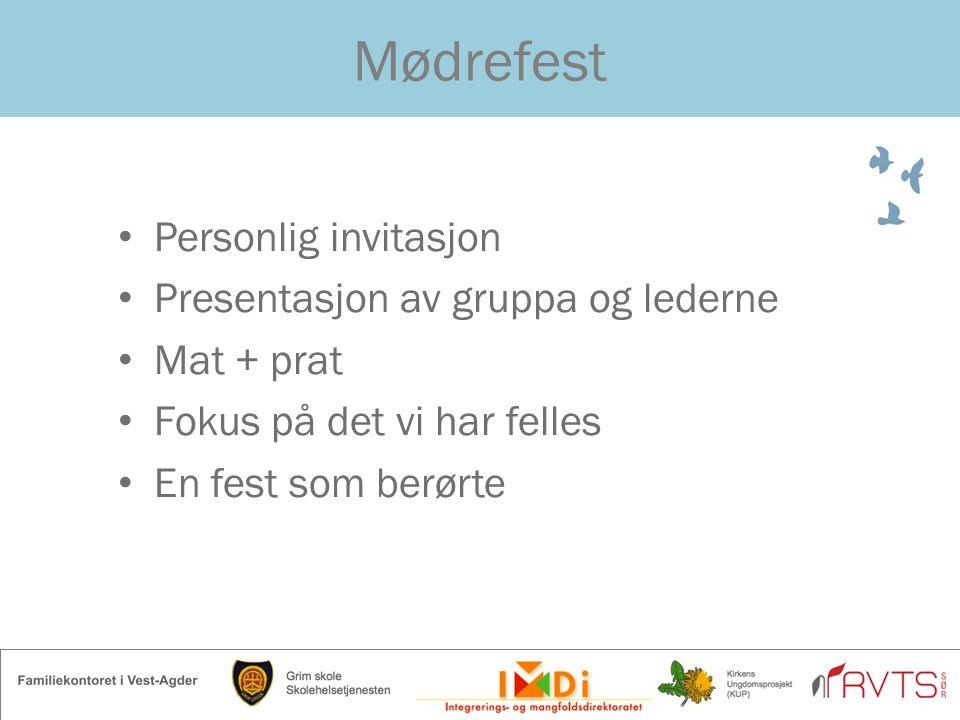 Mødrefest Personlig invitasjon Presentasjon av gruppa og lederne Mat + prat Fokus på det vi har felles En fest som berørte