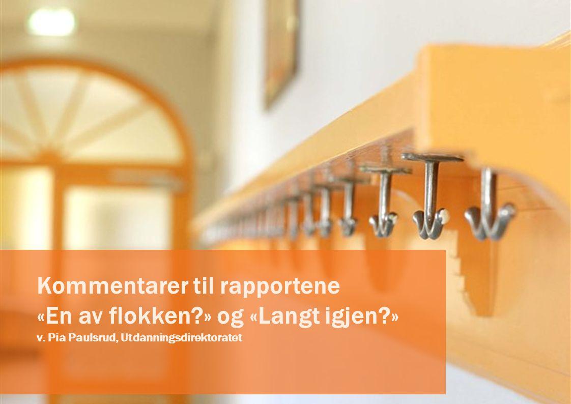 Kommentarer til rapportene «En av flokken?» og «Langt igjen?» v. Pia Paulsrud, Utdanningsdirektoratet
