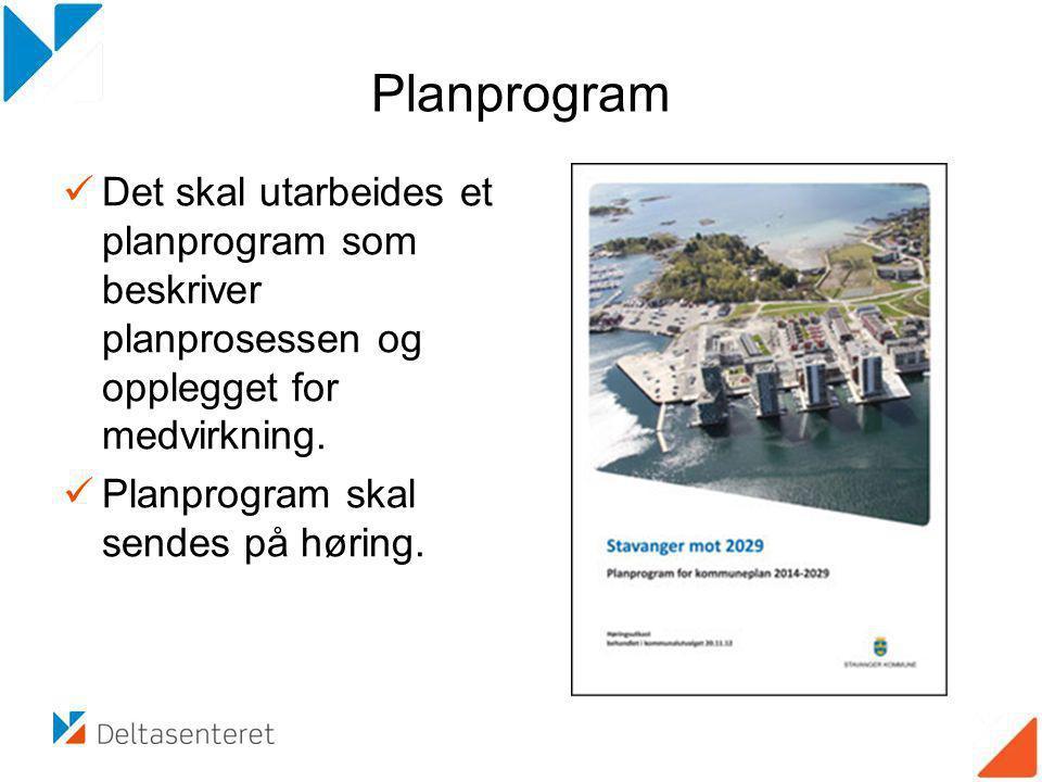 Planprogram Det skal utarbeides et planprogram som beskriver planprosessen og opplegget for medvirkning.