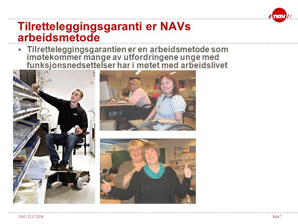 NAV, 12.07.2014Side 7 Tilretteleggingsgaranti er NAVs arbeidsmetode  Tilretteleggingsgarantien er en arbeidsmetode som imøtekommer mange av utfordringene unge med funksjonsnedsettelser har i møtet med arbeidslivet