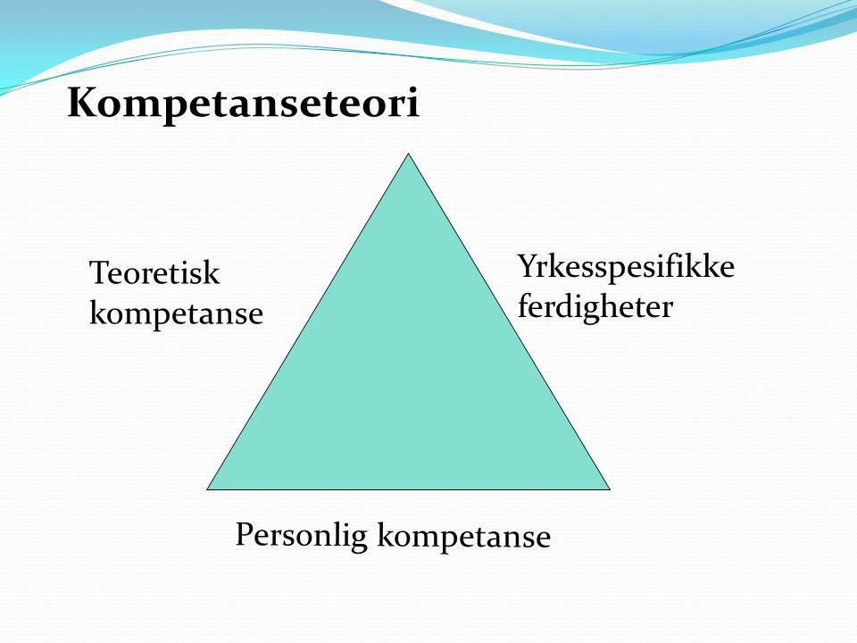Teoretisk kompetanse Kompetanseteori Personlig kompetanse Yrkesspesifikke ferdigheter