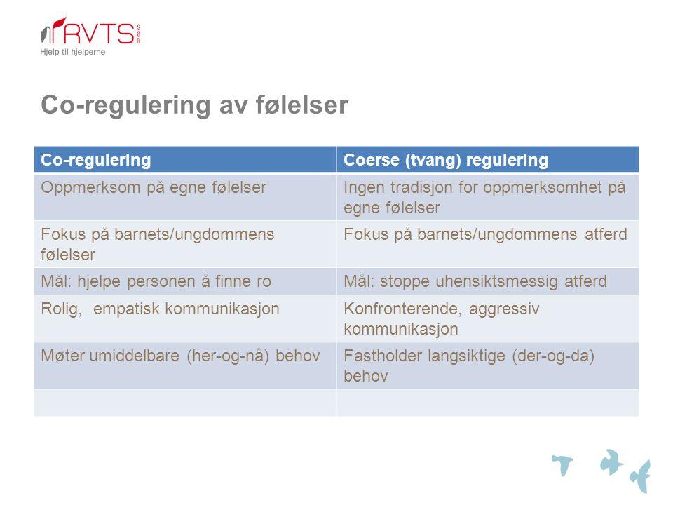 Co-regulering av følelser Co-reguleringCoerse (tvang) regulering Oppmerksom på egne følelserIngen tradisjon for oppmerksomhet på egne følelser Fokus p