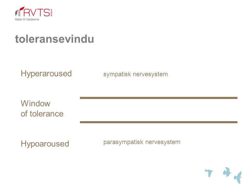 toleransevindu Hyperaroused Window of tolerance Hypoaroused sympatisk nervesystem parasympatisk nervesystem
