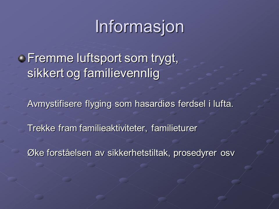 Informasjon Fremme luftsport som trygt, sikkert og familievennlig Avmystifisere flyging som hasardiøs ferdsel i lufta.