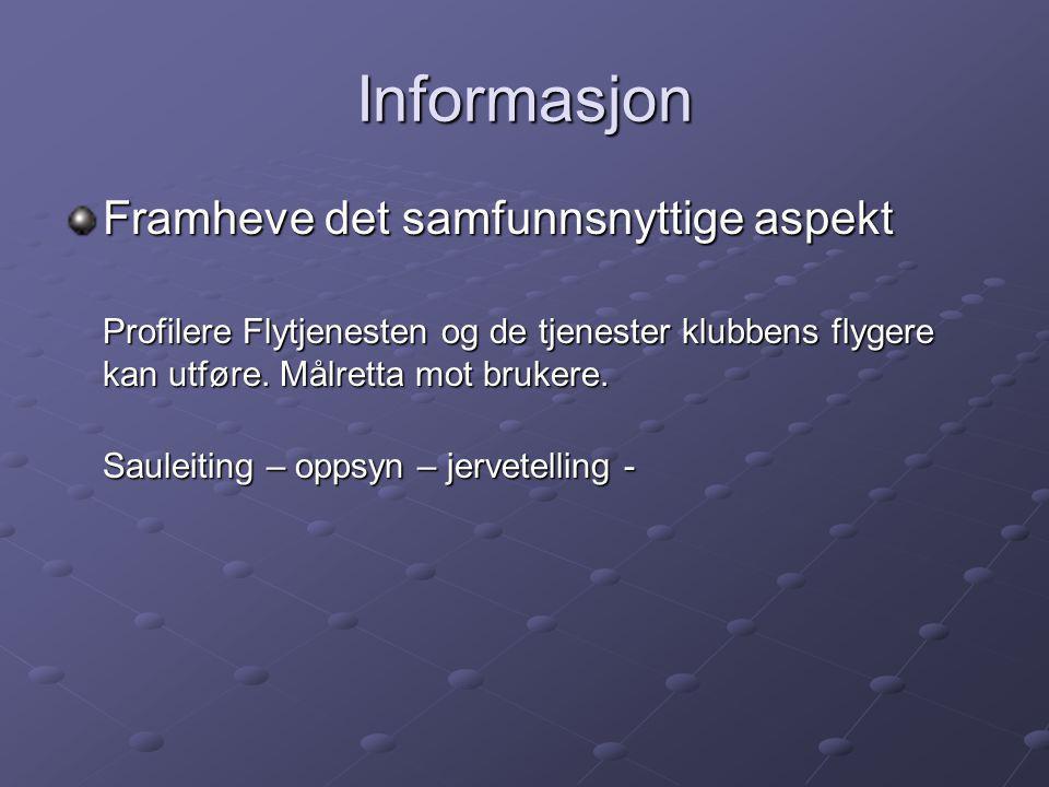 Informasjon Framheve det samfunnsnyttige aspekt Profilere Flytjenesten og de tjenester klubbens flygere kan utføre.