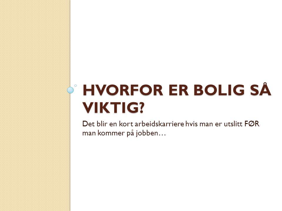 HVORFOR ER BOLIG SÅ VIKTIG.