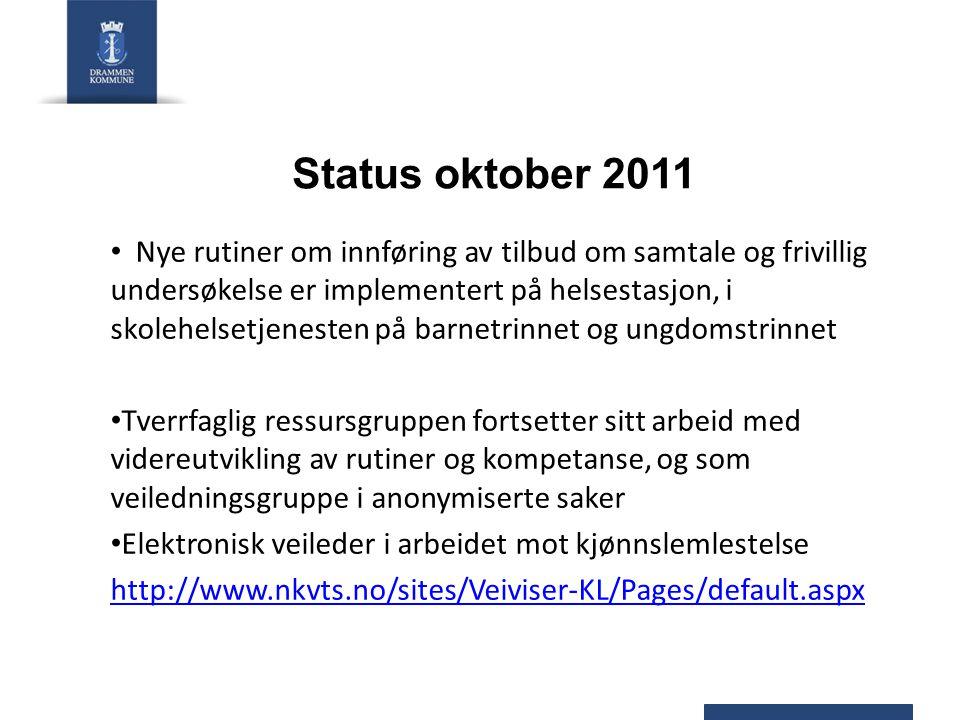 Status oktober 2011 Nye rutiner om innføring av tilbud om samtale og frivillig undersøkelse er implementert på helsestasjon, i skolehelsetjenesten på