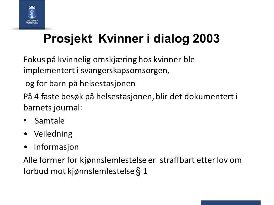 Prosjekt Kvinner i dialog 2003 Fokus på kvinnelig omskjæring hos kvinner ble implementert i svangerskapsomsorgen, og for barn på helsestasjonen På 4 f