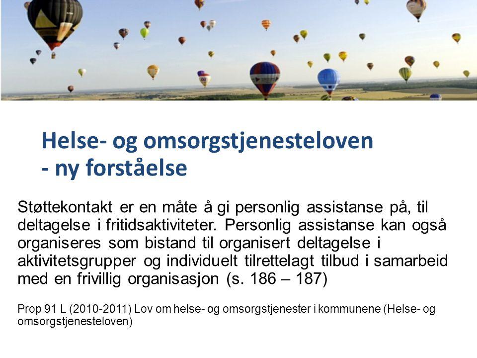 Helse- og omsorgstjenesteloven - ny forståelse Støttekontakt er en måte å gi personlig assistanse på, til deltagelse i fritidsaktiviteter.
