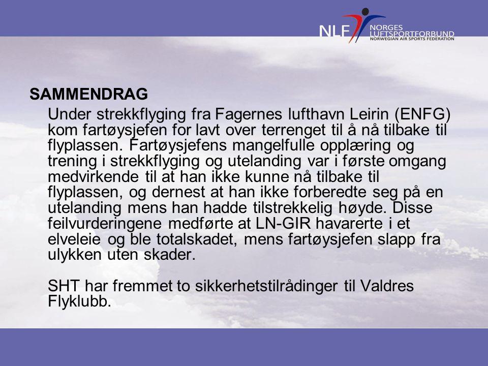 SAMMENDRAG Under strekkflyging fra Fagernes lufthavn Leirin (ENFG) kom fartøysjefen for lavt over terrenget til å nå tilbake til flyplassen. Fartøysje
