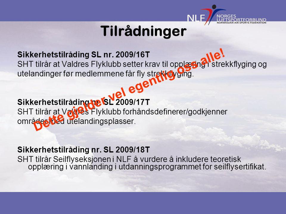 Tilrådninger Sikkerhetstilråding SL nr. 2009/16T SHT tilrår at Valdres Flyklubb setter krav til opplæring i strekkflyging og utelandinger før medlemme