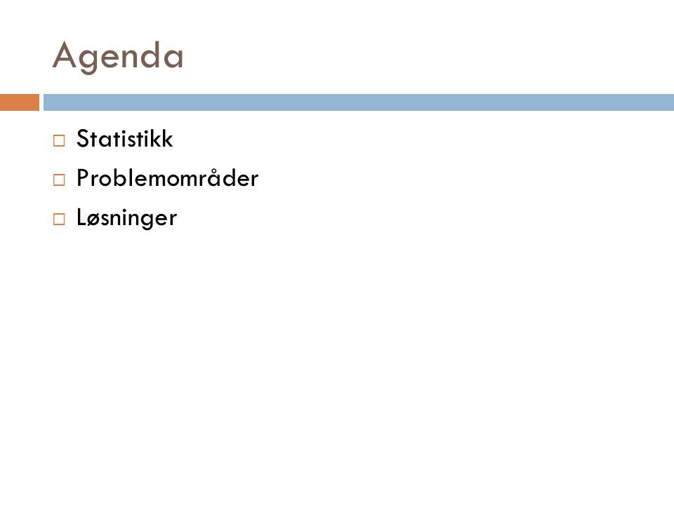 Agenda  Statistikk  Problemområder  Løsninger
